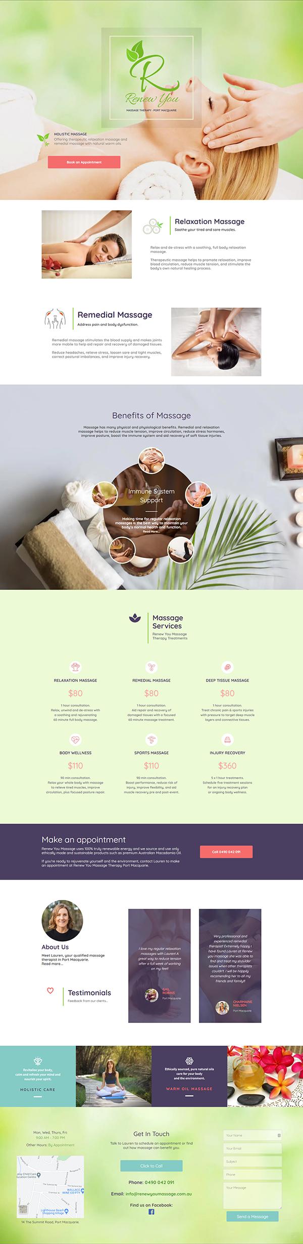 Renew You Massage Web Design Port Macquarie