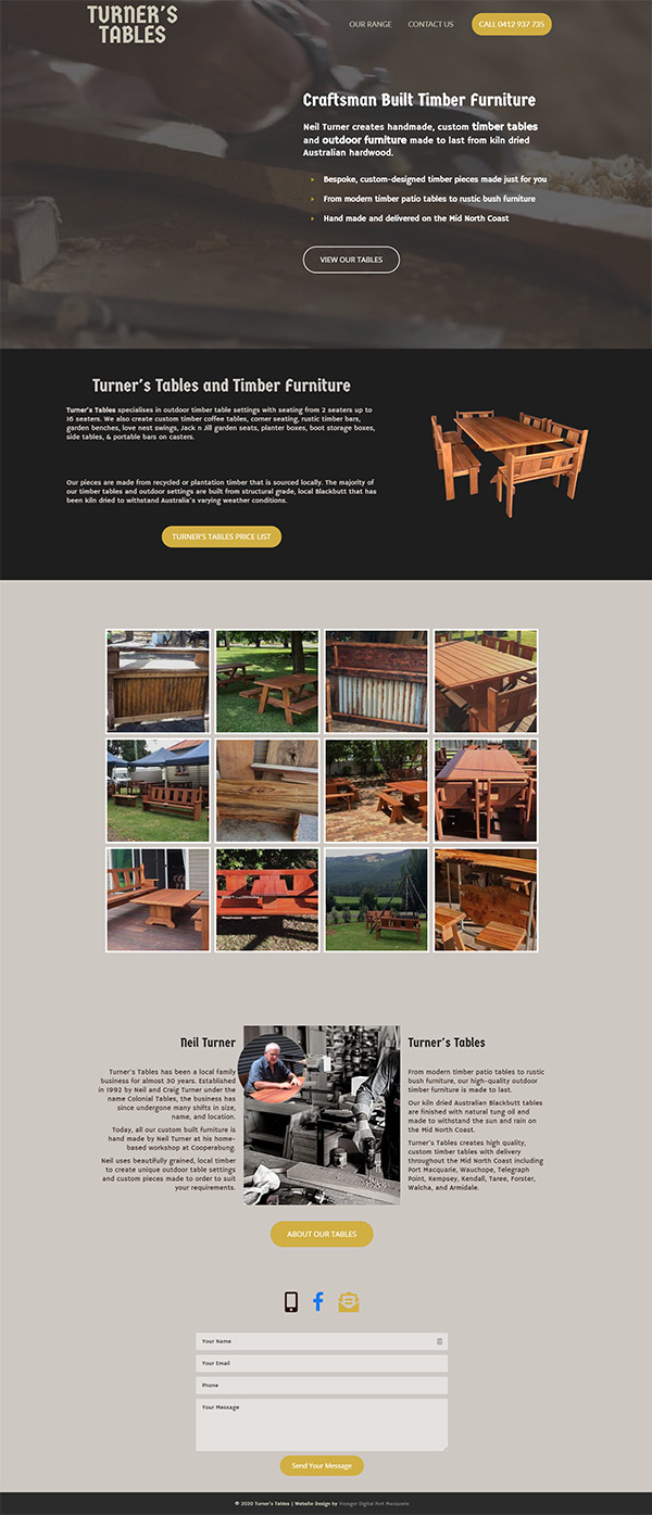 Turners Tables Web Design
